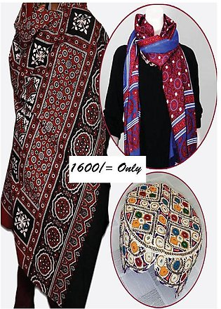 Pack of 2 different  Ajrak and 1 Sindhi Topi