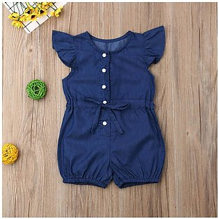 ◇Happy Child◇Baby Girls Kids Toddler Denim Short Sleeve Bow Jumpsuit Romper Clo…