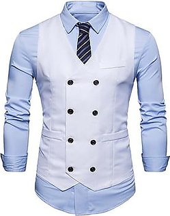 Spring Men Casual Solid Color Double-Breasted Buttons Waistcoat Suit Vest
