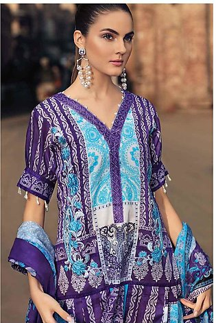 GA - GA - Gul Ahmed-Summer Collection 2019  D.Purple Lawn-2 PC Unstitched-TL-...