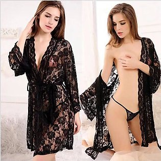 New Hot and Sexy Black Nighty and G-string For Women