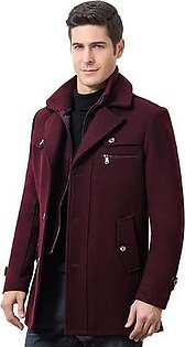 Mens Winter Thickened Warm Woolen Coat Solid Color Business Casual Trench Coat#R2325981