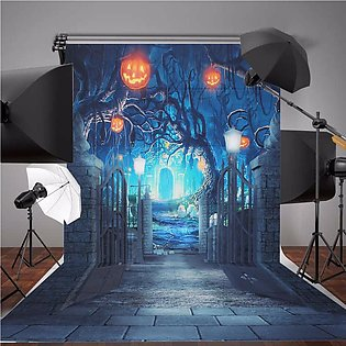 5x7ft Halloween Deep Banked Path Vinyl Backdrop Photography Prop Studio Photo...