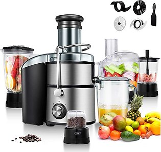 Juice Extractor 5-in-1 for Fruit, Vegetable and Meat w Blender, Chopper, Grin...