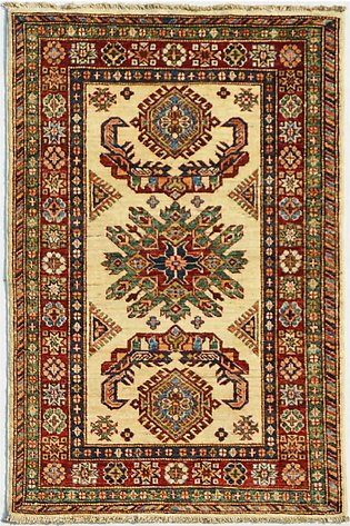 3' x 4' Hand-Knotted Kazak Cream Color Wool Area Rug and Carpets