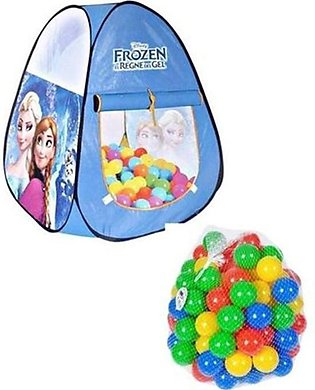 Pack Of 2 - Frozen Tent House And 50 Pcs Soft Plastic Balls