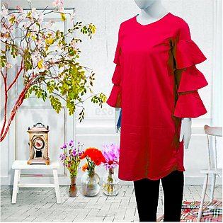 eStitch Flared Sleeve Top for Women and Girls Kurti in Red Cotton for Ladies