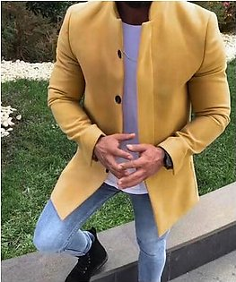 Mens Winter Warm Woolen Coat Solid Color Business Casual Trench Coat Outwear#R2326003