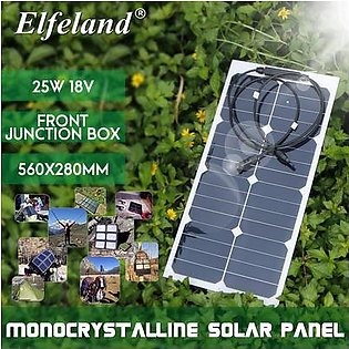 Elfeland 25W 18 Monocrystalline Solar Panel Solar Power Semi-flexible Solar Cells Solar Panel Module Battery Charger with Front Cable for Boat Camping Street Lamp