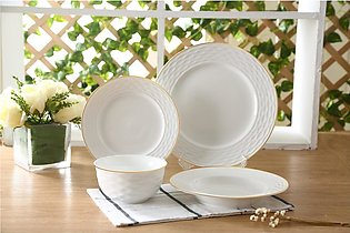 Solecasa Plate Se of 26 Pieces Material: Ceramic White Embossed With Gold Lining