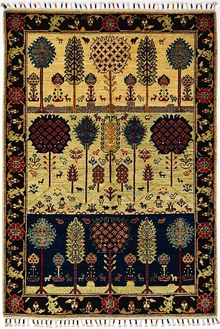 4x6 Multi Color Tree Design Hand Knotted Large Area Rug & Carpet