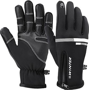 Winter Cycling Gloves Thermal Warm Touchscreen Motorcycle Gloves Full Finger ...