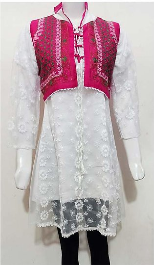 AYESHA STYLEUP'S WHITE COLORED EMBROIDERED FROCK STYLE NET KURTI , PAIRED WIT...