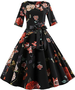Vintage Print Sleeve Casual Evening Dress For Women