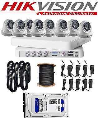 Hikvision Complete  Full CCTV Package Dvr 8 Channel  1MP 8  Cameras Hd Quality