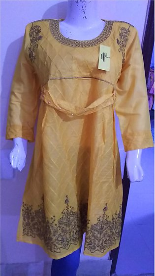 Yellow color embroidered and stitched shirt for females stuff cotton by A-J C...