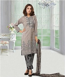 Yellow Floret Embroidery and Printed 3 Piece Dress Pakistani Shalwar Kameez Lawn Suit Un-stitched Fabric
