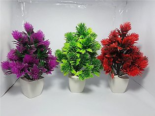 NS Collection-Pack of Three RED, Green & Purple Tree Artificial Decoration Piec…