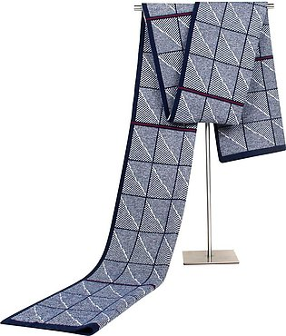 Jacquards Knit Middle-aged Father Plaid Men Autumn Winter Scarf