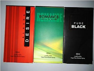 3 bottles perfume of alkohl free pure black desire and romance of 30 ml each