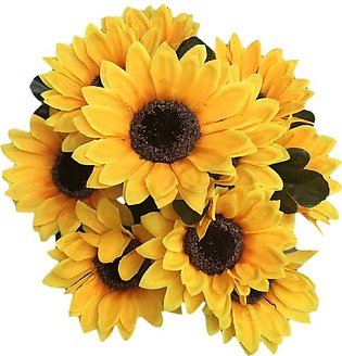 10 Artificial Sunflower Bouquets Fake Sunflower Decoration for Home Decoratio...