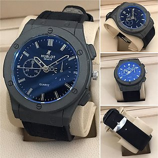 New Style Hublott Watch Latest Grey Blue Hublott Watch Leather Strap for Mens...