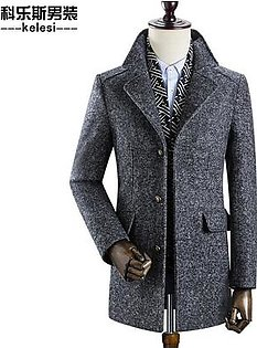 Mens Business Casual Thicken Woolen Trench Coat Detachable Scarf Grey