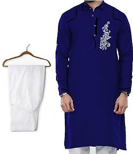 Buy 1 Ready Made Designer Kurta For Men - Design 7 - Navy blue Chest flower + 1 Pajama