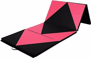 4'x8'x2'' Gymnastics Mat Gym Folding Panel Yoga Exercise Tumbling Pad Red&Black