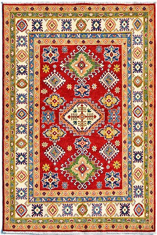 5' x 7' Hand-Knotted Kazak Green Color Wool Area Rug and Carpets For Living R...