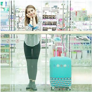 Printed cartoon pattern stretch padded luggage set trolley case travel dust c...