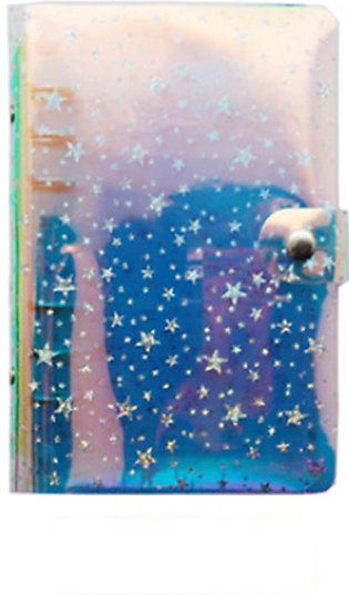 Cute Glitter Sequins Notebook Cover A5/A6 Transparent 6 Rings File Folder Loose…