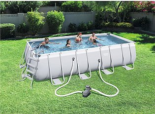 Swimming Pool - Bestway Power Steel Rect Frame Pool- Size 31feet 3 Inchs Leng...