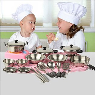 20pcs Mini Stainless Steel Pots Pans Cookware Miniature Toy Pretend Play Gift f…