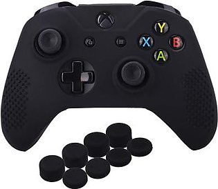Studded Silicone Cover Skin Case for Microsoft Xbox One X & Xbox One S Controller x 1 with Pro Thumb Grips 8 Pieces(Black)