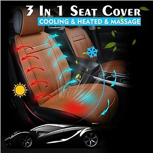 Universal 3 In 1 Car Auto Cooling & Warm Heated & Massage Chair Seat Cover Cushion (Camel Brown)