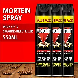Pack of 3 Mortein Crawling Insect Killer Spray 550ml