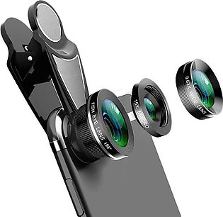 3 In 1 Phone Camera Lens Kit Fish Eye 0.63X Wide-Angle 15X Macro Lens For Iphon…