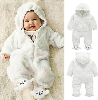 Infant Baby Boy Girl Winter Warm Romper Jumpsuit Hooded Outfit Clothes