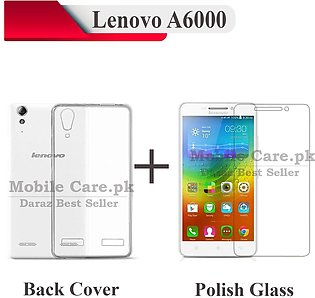 Lenovo A6000 Tempered Glass Screen Protector Polish Glass + Transparent Back ...