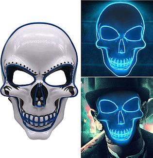 LED Glowing Mask Fluorescent Mask Halloween Party Scary Mask Funny Mask Role-Pl…