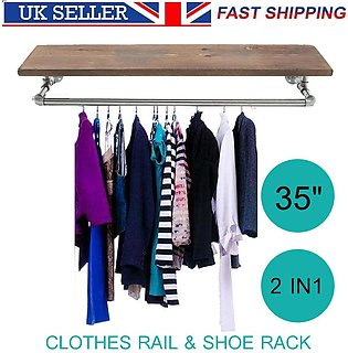 """35"""" Industrial Retro Silver Iron Pipe Clothes Rail Shoes Wooden Rack Wardrobe"""