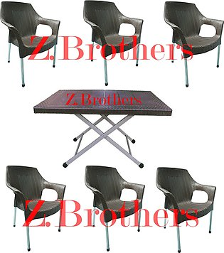 Plastic Chair Classic Rattan 6 - Chair -Plastic Chair with folding table