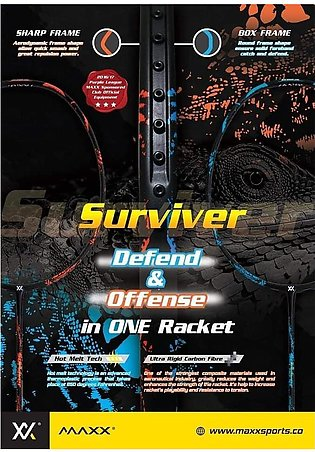 MAXX SURVIVER -Original - Maxx Badminton Racket With Maxx Strung+Maxx Logo Ra...