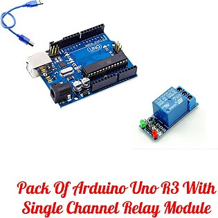 Pack Of Arduino Uno R3 With Single Channel Relay Module