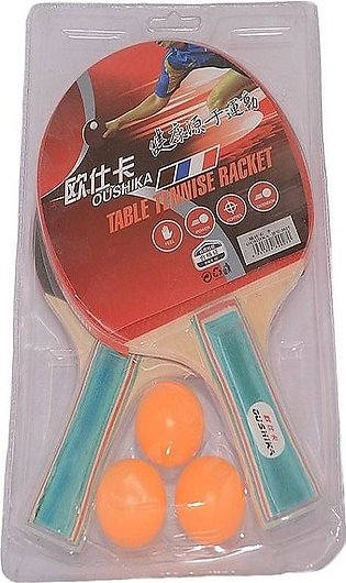 3 Balls Pair And Of Table Tennis Rackets With Net Post