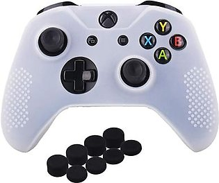 Studded Silicone Cover Skin Case for Microsoft Xbox One X & Xbox One S Controller x 1 with Pro Thumb Grips 8 Pieces(White)