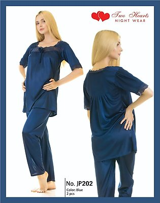Nighty New Western Style Pajama Suit Ladies Night Suit And Casual Dress Blue ...