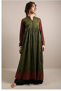 Generation-Stitched 1 - Piece Pre Fall Collection Burmese Block Dress Cotton Contemporary-B29328T-Green