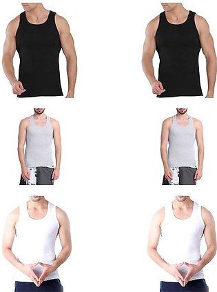 Pack of 6 - Grey, Black and White Cotton Vests for Men